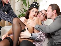 Banging, Banging, Brunette, Gagging, Gangbang, Group