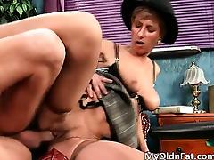 Dirty brunette old woman blowing tube part2