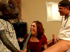 Alien, Alien, Babe, Blowjob, Brunette, Interracial