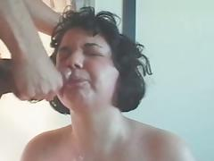 Chubby amateur tie the knot suck for facial