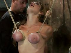Chunky breasted Misdemeanour gets her tits tortured in extreme video