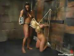 Blonde Aubrey Addams gets humiliated by her ebony mistress