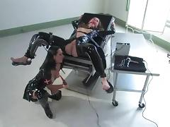 Nipple Torture and Fucking Machine Action in Latex Fetish Lesbian BDSM