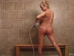 Blonde shemale Gia Darling fucks some guy's ass after being fondled