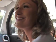 Delightful MILF sucks and rides BBC in a backseat