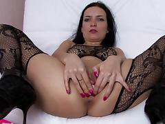 Bodystocking, Bodystocking, Brunette, European, Fingering, Masturbation