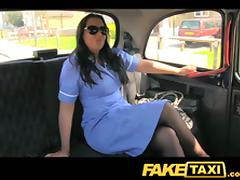Brunette bitch fucks a taxi driver and gets cum on her face