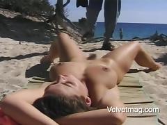 Beach, Adorable, Beach, Big Tits, Brunette, Couple