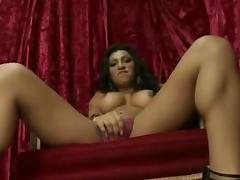 Astonishing Big Boobed Tranny Jerking Off Her SheDick
