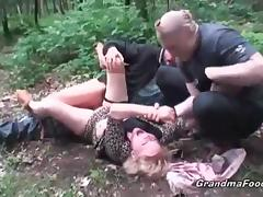 Bound, Angry, Blonde, Blowjob, Bound, Granny