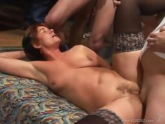 Mature bitch Cica gets fucked hard in a gangbang clip