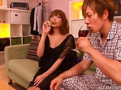 Lovely Japanese Couple Taking Red Wine Before They Have Sex