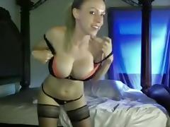 Breasty blonde dancing on webcam