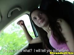 Hitch hiking brunette flashes her small tits