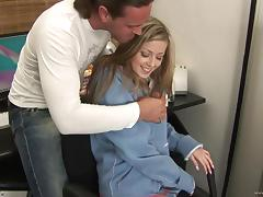 Gorgeous blonde babe Abigaile Johnson gets nailed by long-haired man