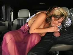 Sexy saggy tits brunette fucked in a limo