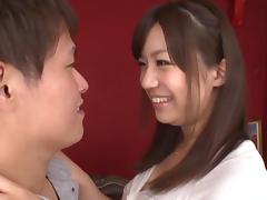 Japanese Teen Cutie Masturbates With A Little Help
