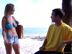 Rough sex by the beach shore with the sexy Ivana Bianchi