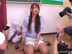 Horny Asian College Teacher Gets Gangbanged By Her Teacher