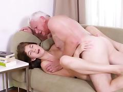 Teen, Facial, Grandpa, Old Man, Sofa, Teen
