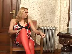 Blond tranny Tamara C and a bearded man fuck each other's bumholes