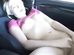 Car, Car, Fingering, Masturbation, Small Tits