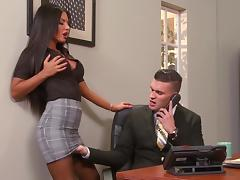 Office, Blowjob, Brunette, Couple, Facial, Office