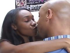 Afro american hairy babe sucked and fucked by an bbc