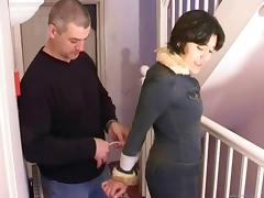 Bdsm fetish babes with nice ass in miniskirt getting tied using rope on bed