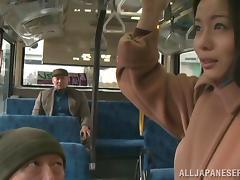 Bus, Asian, Babe, Brunette, Bus, Fingering